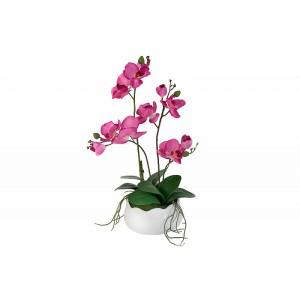 """декор.цветы """"Орхидея бордо"""" в керам вазе"""