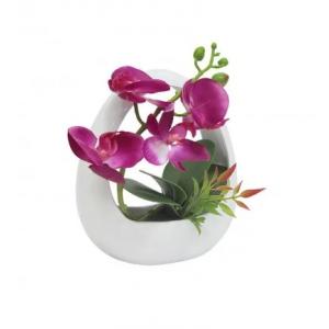 """декор.цветы """"Орхидея темн сиреневая"""" в керам вазе"""