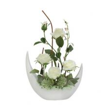 """декор.цветы """"Розы белые"""" в керам вазе"""