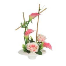 """декор.цветы """"Розы и каллы розовые"""" на керам. подстав."""