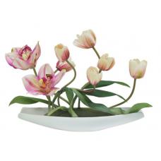 """декор.цветы """"Тюльпаны св. с орхидеями"""" на керам. подс."""